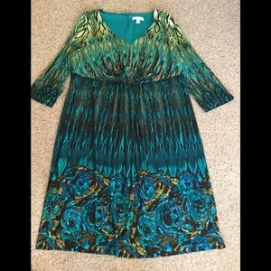 Ladies size 18W aqua & olive peacock look dress